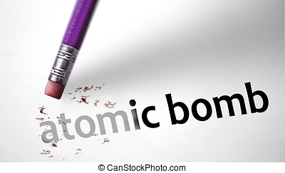 Eraser deleting the concept Atomic Bomb