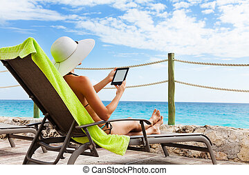 Electronic paper book for sun chair