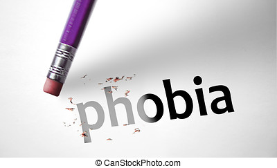 Eraser deleting the word Phobia