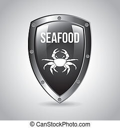 sea food over background vector illustration