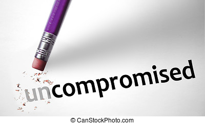 Eraser changing the word Uncompromised for Compromised