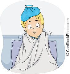 Sick Boy - Illustration of a Boy Lying in Bed Due to Fever