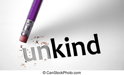 Eraser changing the word Unkind for Kind