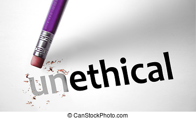Eraser changing the word Unethical for Ethical