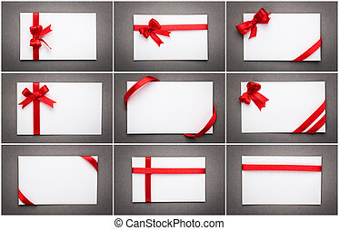 Collection of card with red ribbon bow