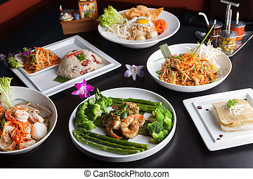 Thai Food Dishes Variety - Shrimp scampi seafood dish with...