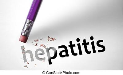 apagando, palavra, borracha, Hepatite