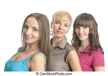 Three Young Ladies With Teeth Braces - Portrait of Three...