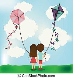 Kite design over landscape background, vector illustration