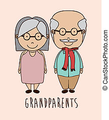 Grand parents design over beige background, vector...