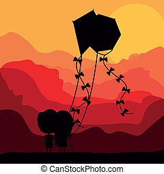 Kite design over landscape background, vector illustration