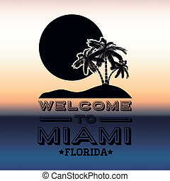 Miami design over blur background, vector illustration