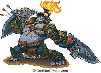 Gorilla Warrior Fantasy Vector - Vector cartoon fantasy...