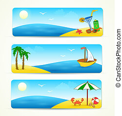 beach banners with hand drawn design