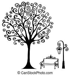 swirl hand drawn tree bench and lamp for your design eps 8