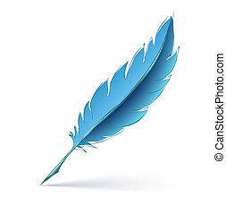 blue feather pen
