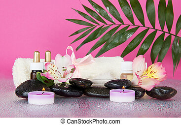 Howea leaf over set for an aromatherapy - Howea leaf over a...