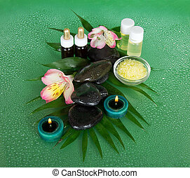 Aromatic oil, salt, candles, stones and flower - Aromatic...