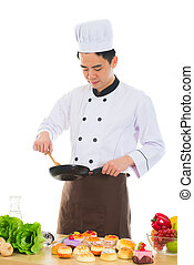 asian male chef isolated white background