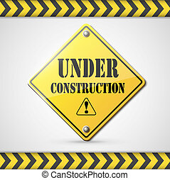 under construction sign on white eps10