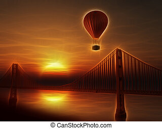 Hot Air Balloon and Golden Gate Bridge Illustration