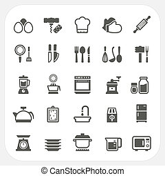 Kitchen and cooking icons set, EPS10, Dont use transparency...