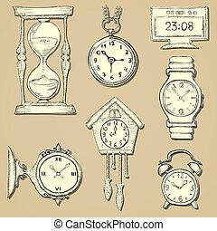 Armbanduhr gezeichnet  Vektor Clipart von uhren, gezeichnet, satz, uhren, hand - Hand ...