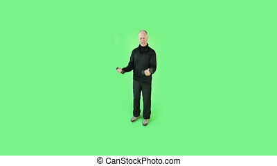 Senior caucasian sport man green screen weak exercising -...