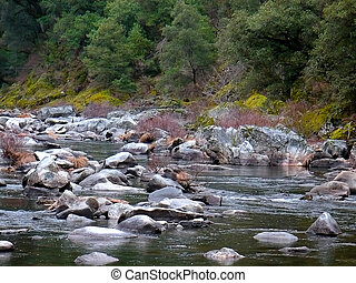 Riverbank 1 - The banks along the rocky course of a river in...