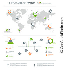 detailed infographic elements set with world map graphics...