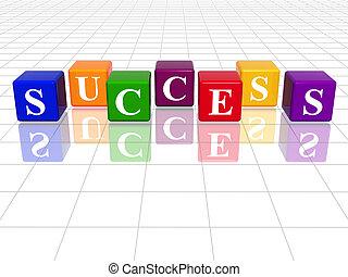 colour success - 3d colour cubes with text - success, word,...