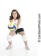 Caucasian Kids - Cute Caucasian girl hitting the ball in...