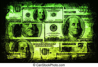US Dollar Abstract Currency Notes in Green