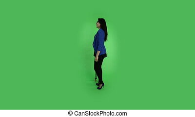 business woman isolated on green screen injured crutch -...