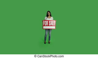 Casual woman isolated green screen worried for sale sign -...