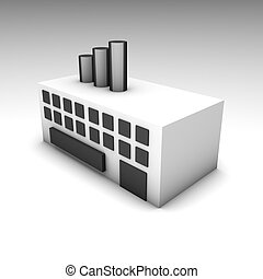 Warehouse - Factory or Warehouse Building as a 3D