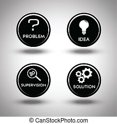 Icons of problem solving process - Set of icons concerning...