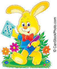 Bunny and crossword - Little yellow rabbit walking with a...