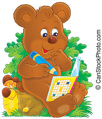 Bear and crossword - Little brown bear cub solving a...