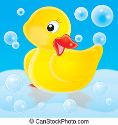 Duckling - Little yellow duckling with soap bubbles