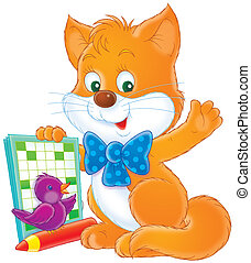 Kitten and crossword - Little cat and bird with a crossword...