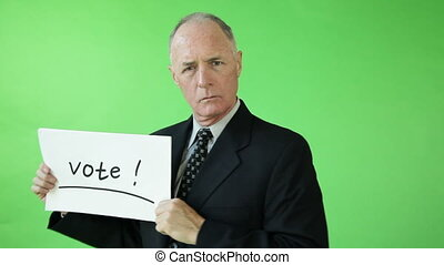 Senior caucasian business man green screen for election -...