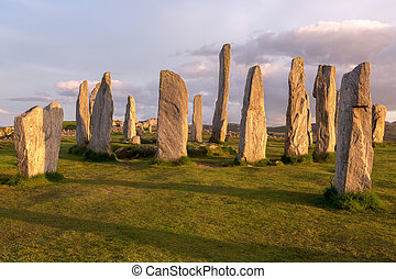 Scottish landmark - Megalithic stone circle of 3000 bc on...