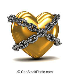 3d Chained gold heart - 3d render of a gold heart wrapped in...