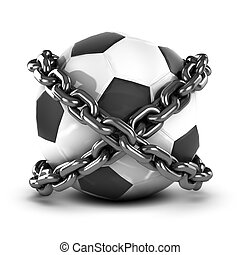 3d Chained football - 3d render of a football wrapped in...