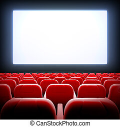 Empty cinema hall. - 3d render illustration blank template...