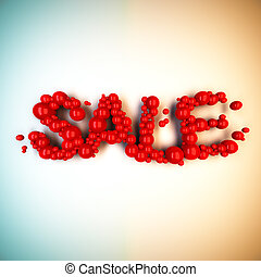 Sale word from red balls. - 3d render illustration of Sale...