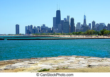 Chicago Skyscrapers from the Lakefront - View of the Chicago...