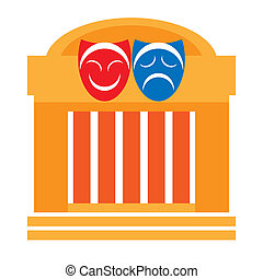 Drama theater - Theater and drama masks, vector illustraion...