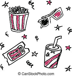 Set of doodle cinema icons: beverage, ticket,pop-corn...